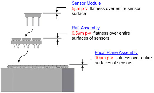 Measurements of the required flatness of the focal plane array, from indivdual CCD elements to rafts to the entire array. Flatness affects consistency of focus.