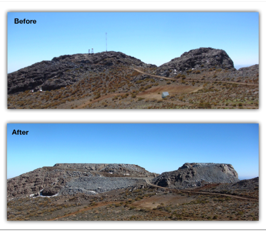 The mountain top before and after being leveled for the LSST.