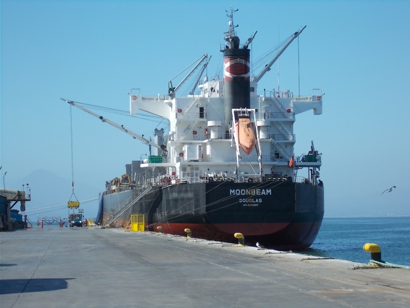 A ship similar to the ones that will transport LSST components is seen here docked in the Port of Coquimbo, Chile.  Image credit:  M. Logue, LSST/NSF/AURA