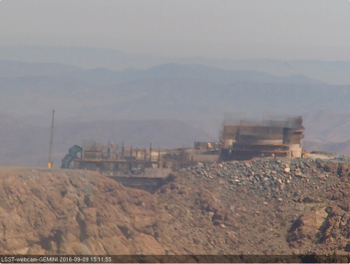 Camera 2 is located at the site of Gemini-South, a bit further east of LSST but also on Cerro Pachón. This camera looks west, back toward LSST construction activity